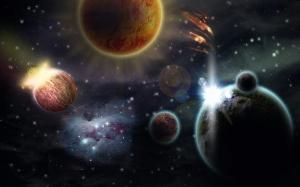 Outher Space Dünya & Uzay Kanvas Tablo