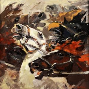 Özgür Atlar, Ürkmüş Vahşi Atlar Modern Kanvas Tablo