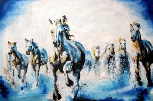 Özgür ve Çılgın Atlar Kanvas Tablo