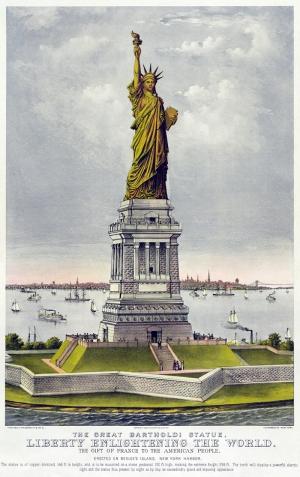 Özgürlük Heykeli Çizim Dünyaca Ünlü Şehirler Kanvas Tablo