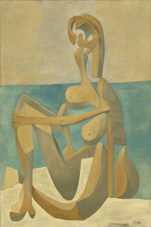 Pablo Picasso Mayo ile Oturma Yagli Boya Klasik Sanat Kanvas Tablo