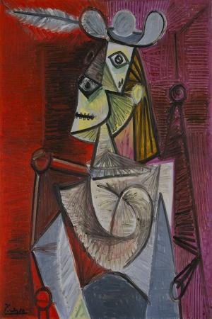 Pablo Picasso Sallanan Sandalyedeki Kadin Yagli Boya Klasik Sanat Kanvas Tablo