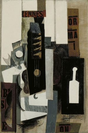 Pablo Picasso Sise Gitar ve Bardak Yagli Boya Klasik Sanat Kanvas Tablo