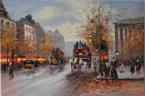 Paris Eyfel Kulesi 11 At Arabaları Şehir Manzaraları Canvas Tablo