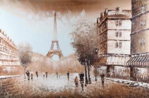 Paris Eyfel Kulesi 2 Şehir Manzaraları Yağlı Boya Canvas Tablo