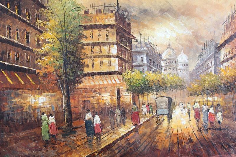 Paris Eyfel Kulesi 3 Şehir Manzaraları Yağlı Boya Canvas Tablo