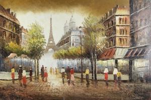 Paris Eyfel Kulesi 4 Şehir Manzaraları Yağlı Boya Canvas Tablo