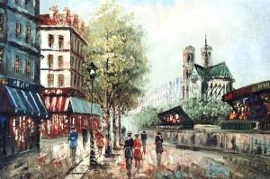 Paris Eyfel Kulesi 5 Şehir Manzaraları Yağlı Boya Canvas Tablo