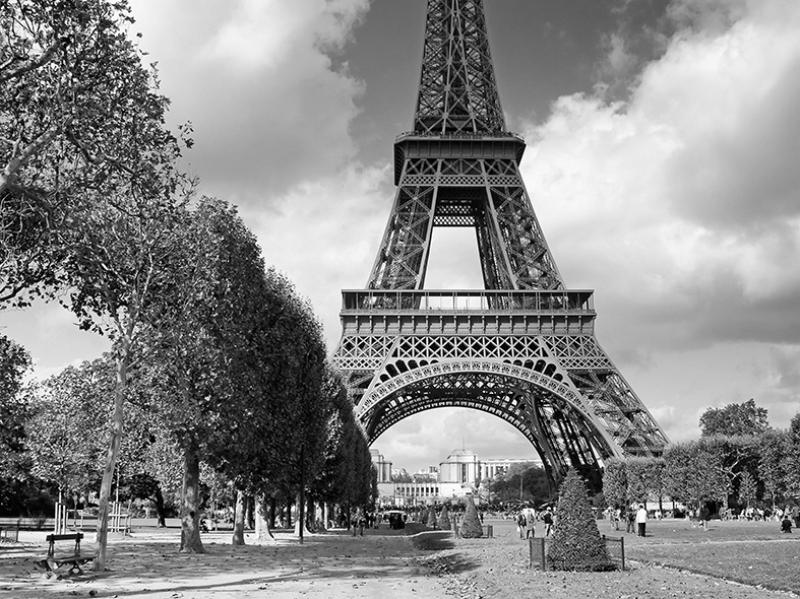 Paris Eyfel Kulesi Siyah Beyaz Dünyaca Ünlü Şehirler Kanvas Tablo