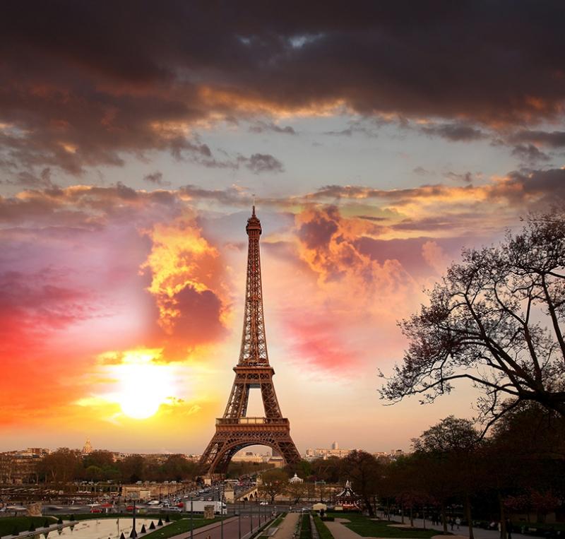 Paris Eyfel Kulesi ve Gün Batımı Dünyaca Ünlü Şehirler Kanvas Tablo