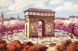 Paris, Fransa Tarihi Yerler Şehir Manzaraları Yağlı Boya Sanat Canvas Tablo