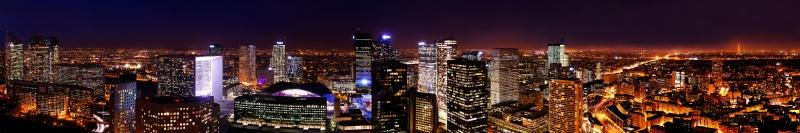Paris Gece Şehir Manzarası Panaromik Kanvas Tablo