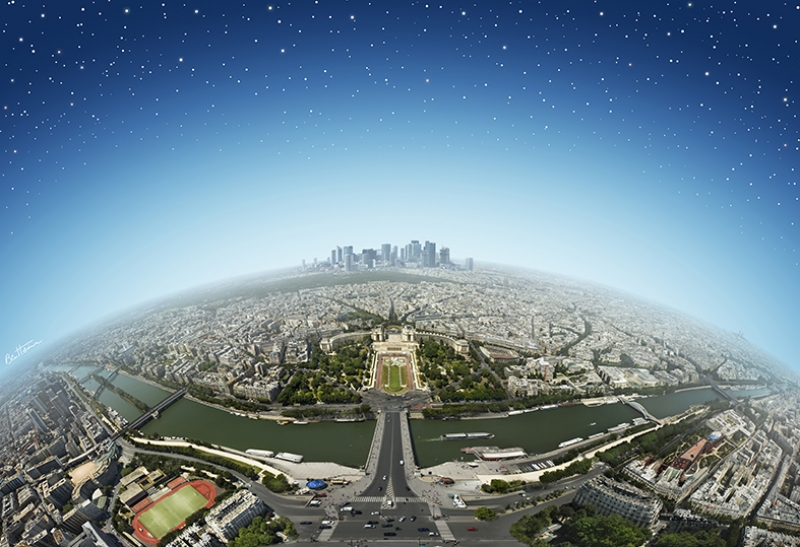 Paris Gökyüzü Dünyaca Ünlü Şehirler Kanvas Tablo