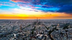 Paris Gün Batımı Şehir Manzarası Dünyaca Ünlü Şehirler Kanvas Tablo