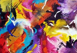 Parlak Canlı Renkler 1 Soyut Yağlı Boya Abstract Kanvas Tablo