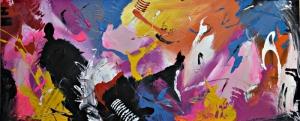 Parlak Canlı Renkler 2 Soyut Yağlı Boya Abstract Kanvas Tablo