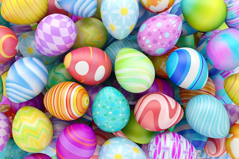 Paskalya Yumurtaları Abstract Dijital ve Fantastik Kanvas Tablo