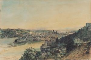 Passau'nun Görünüşü, View Of Passa- 1864, Rudolf Von Alt, Klasik Sanat Kanvas Tablo