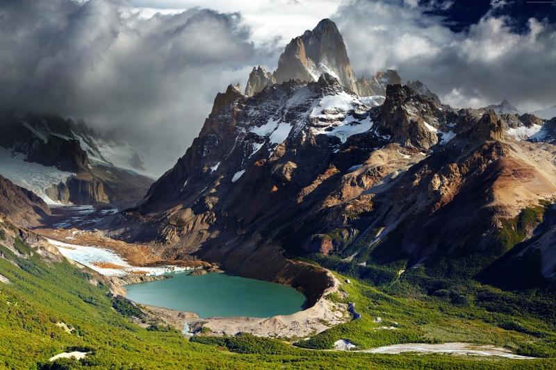 Patagonia Arjantin Krater Gölü Karlı Dağlar Doğa Manzaraları Kanvas Tablo