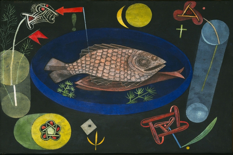 Paul Klee Baligin Etrafinda Yagli Boya Klasik Sanat Kanvas Tablo