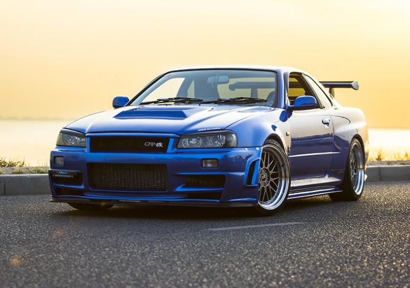 Paul Walker Nissan Skyline Mavi Spor Otomobil Kanvas Tablo