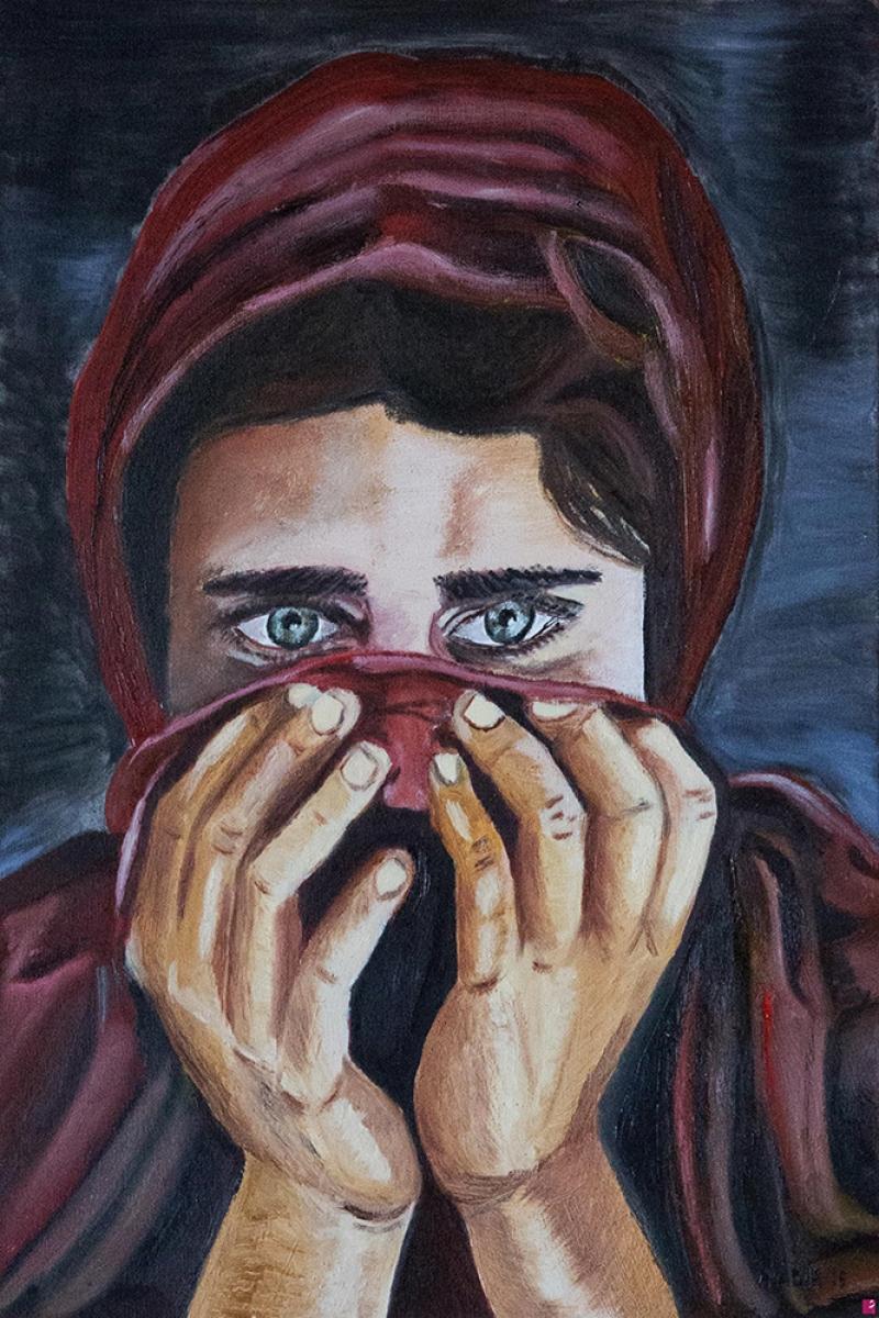 Peçeli, Mavi Gözlü Bayan Portre Kanvas Tablo