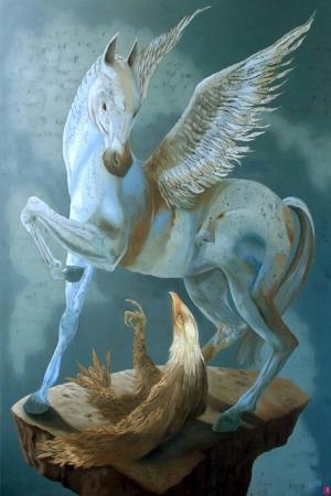 Pegasus İlk Uçuş Hayvanlar Sanat Kanvas Tablo
