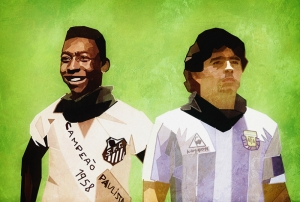 Pele vs Maradona İllustrasyon Spor Kanvas Tablo