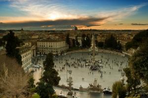 Piazza Del Popolo Pinciodan Kuş Bakışı Roma Şehir Manzarası Dünyaca Ünlü Şehirler Kanvas Tablo