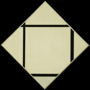 Piet Mondrian Dort Cizgi ve Gri Yagli Boya Klasik Sanat Kanvas Tablo