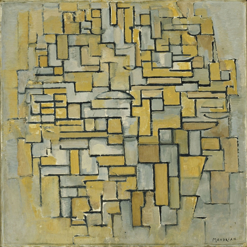 Piet Mondrian Kahverengi ve Grinin Kompozisyonu Yagli Boya Klasik Sanat Kanvas Tablo