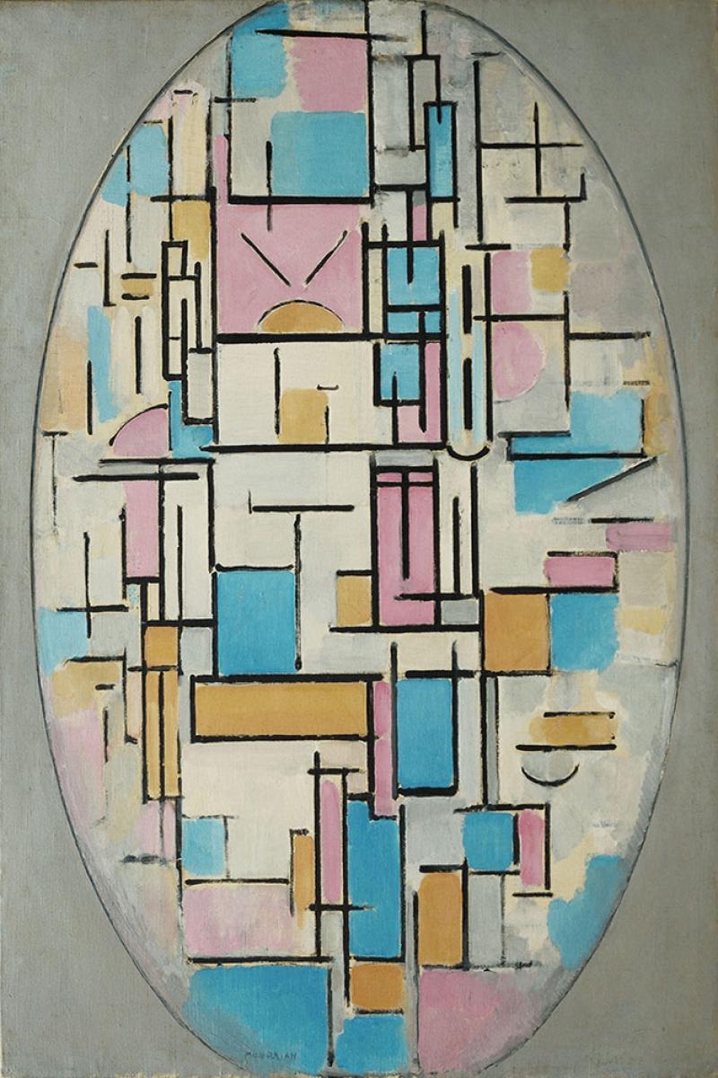 Piet Mondrian Oval Kompozisyon Yagli Boya Klasik Sanat Kanvas Tablo