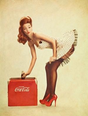 Pin Up Coca Cola Poster Kız Kanvas Tablo