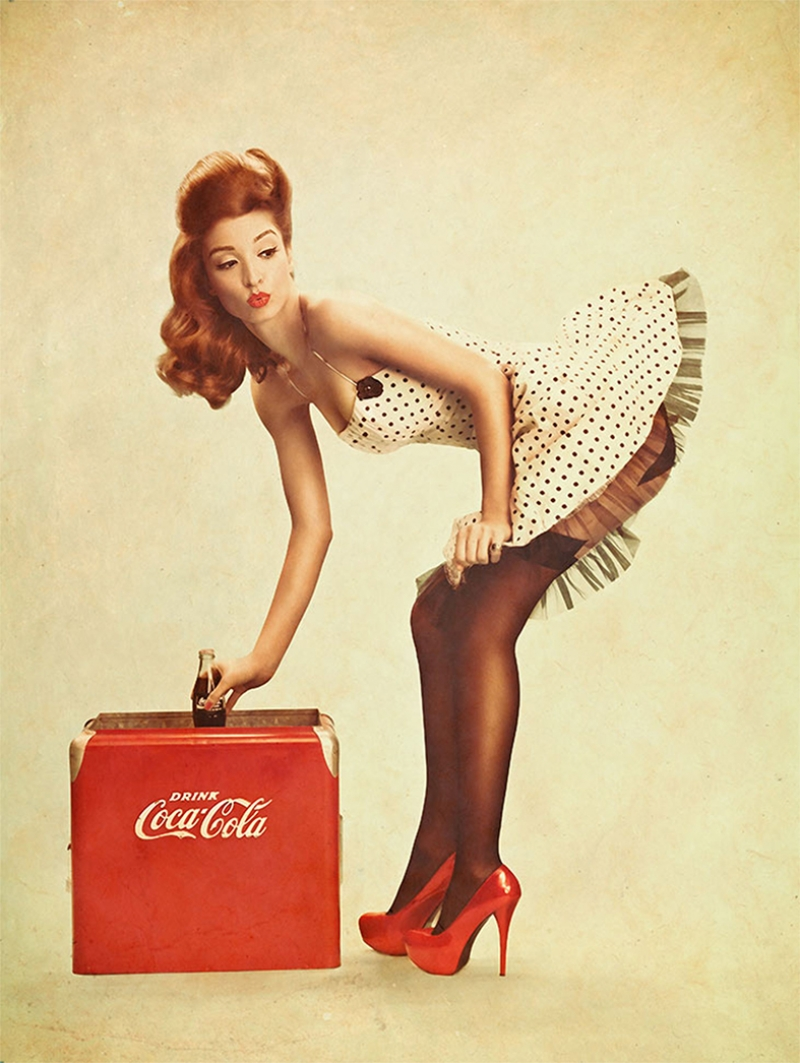 Pin Up Coca Cola Poster Kız Kanvas Tablo