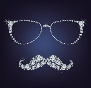 Pırlanta Gözlük ve Bıyık Popüler Kültür Kanvas Tablo