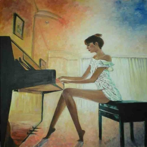 Piyano Çalan Kız 1 Modern Sanat Kanvas Tablo