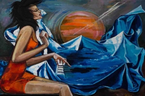 Piyano Çalan Kız-9 Modern Sanat Kanvas Tablo