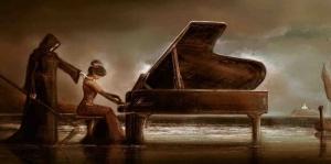 Piyano Çalan Kız, Son Dokunuş-2, Modern Sanat Kanvas Tablo