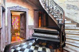 Piyano Odası-4 Modern Sanat Kanvas Tablo