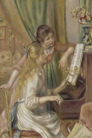 Piyanodaki Genç Kızlar, Pierre August Renoir Young Girls At The Piano, Klasik Sanat Kanvas Tablo