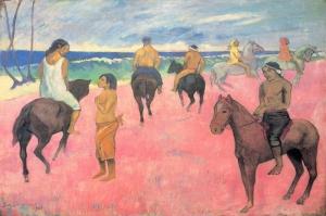 Plajdaki Biniciler Cavaliers Sur La Plage-1902 Paul Gauguin Reproduksiyon Kanvas Tablo