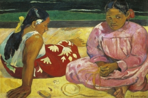 Plajdaki İki Tahitili Kadın, Two Tahitian Women On The Beach-1891 Paul Gauguin Reproduksiyon Kanvas Tablo