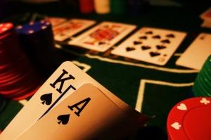 Poker Kağıtları ve Fişleri Fotoğraf Kanvas Tablo