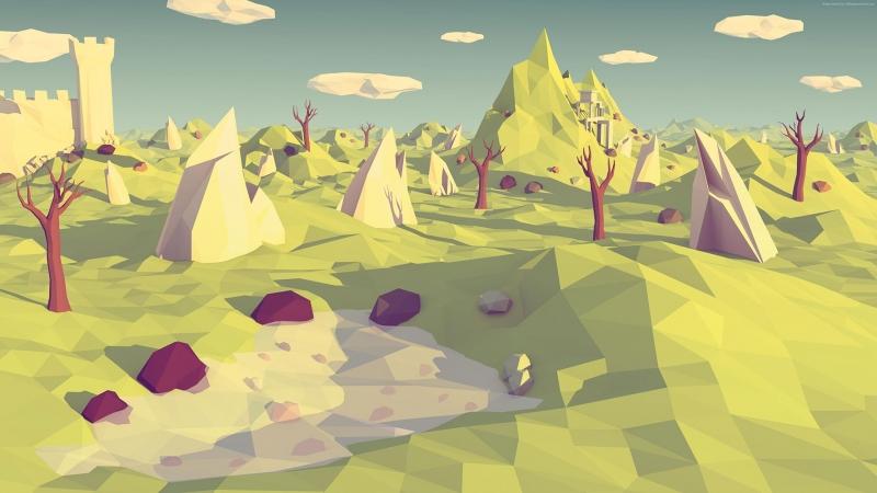 Polygon 3D Doğa Abstract Kanvas Tablo