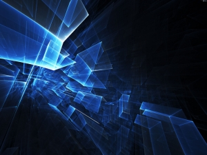 Polygon 3D Mavi Küpler Abstract Kanvas Tablo