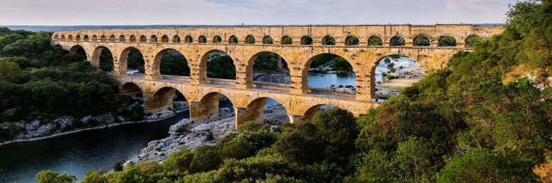 Pont Du Gard Kemeri Fransa-2 Şehir Manzaraları Kanvas Tablo