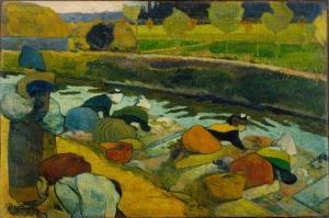 Pont ta Yıkayıcı Kadınlar , Washerwomen At Pont Paul Gauguin Reproduksiyon Kanvas Tablo