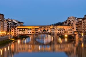 Ponte Vecchio, Eski Köprü Floransa Tarihi Yerler-10 Dünyaca Ünlü Şehirler Kanvas Tablo