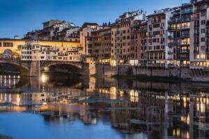 Ponte Vecchio, Eski Köprü Floransa Tarihi Yerler-11 Dünyaca Ünlü Şehirler Kanvas Tablo