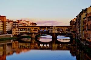 Ponte Vecchio, Eski Köprü Floransa Tarihi Yerler-14 Dünyaca Ünlü Şehirler Kanvas Tablo